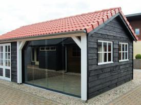 Een tuinberging met plat dak voor meer ruimte