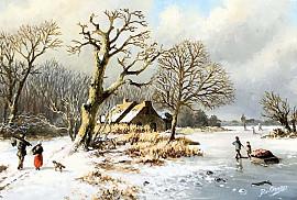 Een winterlandschap schilderij aan de muur